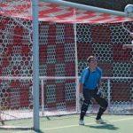 Plasa poarta fotbal HUCK, cu adancime 200x200cm, 2 culori